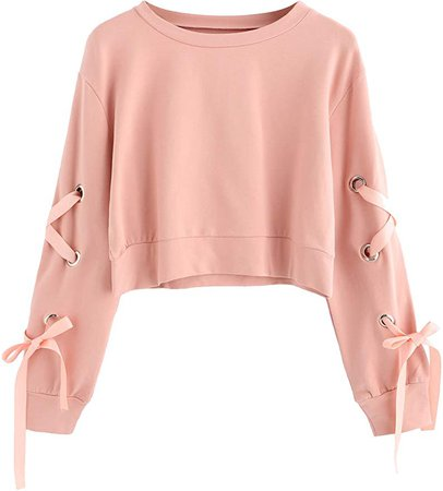 SweatyRocks Women's Casual Lace Up Long Sleeve Pullover Crop Top Sweatshirt at Amazon Women's Clothing store