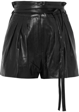Stable Pleated Leather Shorts - Black