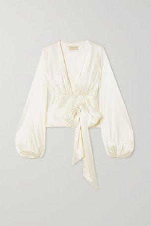 White Silk-blend satin wrap blouse | Alexandre Vauthier | NET-A-PORTER