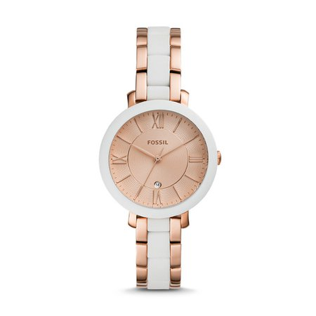 Jacqueline Three-Hand Date Rose Gold-Tone Stainless Steel Watch - Fossil