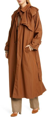 Long Cotton Blend Trench Coat