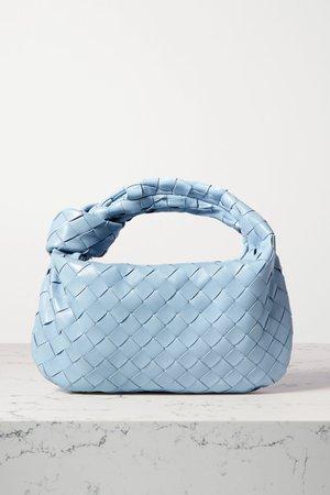 Light blue Jodie mini knotted intrecciato textured-leather tote   Bottega Veneta   NET-A-PORTER