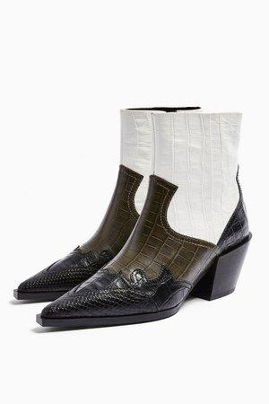 MISSOURI Leather Khaki Snake Western Boots | Topshop