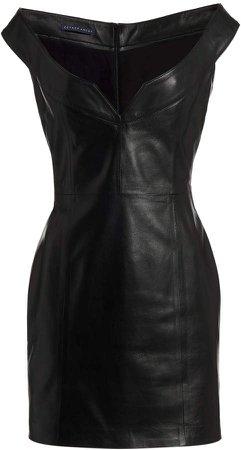 Zeynep Arcay Off-The-Shoulder Leather Mini Dress