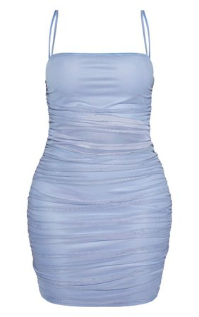Shape Dusty Blue Strappy Ruched Mesh Cut Out Dress   PrettyLittleThing