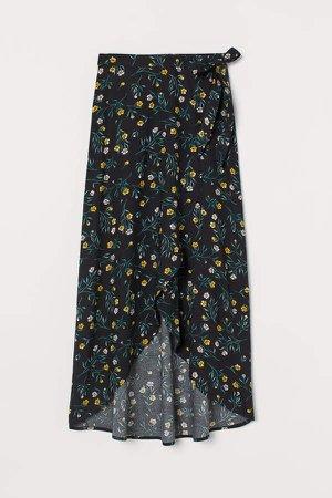 Wrap-front Skirt - Black