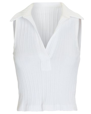 Helmut Lang Cropped Sleeveless Polo Top | INTERMIX®