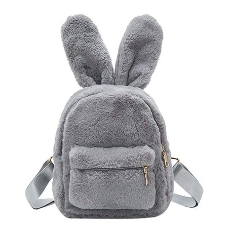 Women's Faux Fur Mini Backpack Cute Rabbit Ear Satchel Shoulder bag Purse Plush Handbags (Gray)