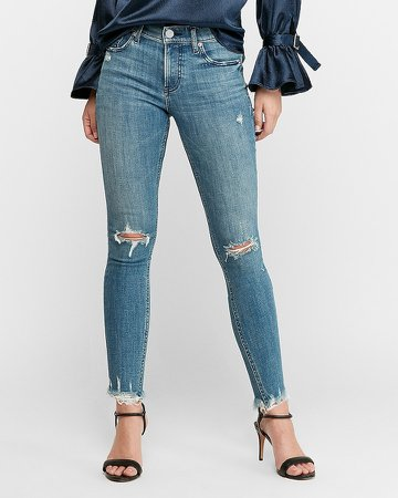 High Waisted Hyper Stretch Ripped Raw Hem Skinny Jeans