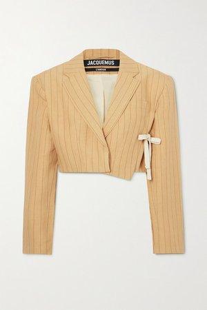 Santon Tie-detailed Pinstriped Linen Blazer - Yellow