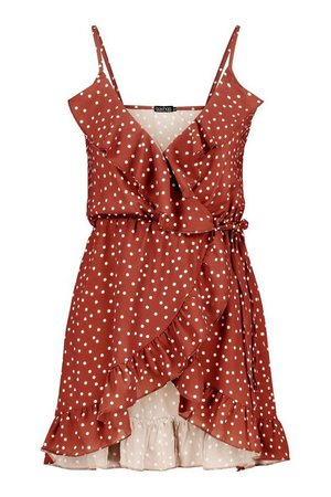 Petite Polka Dot Strappy Wrap Dress | boohoo rust