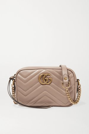 Antique rose GG Marmont Camera mini quilted leather shoulder bag   Gucci   NET-A-PORTER