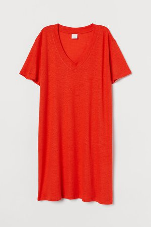 Linen-blend T-shirt Dress - Orange