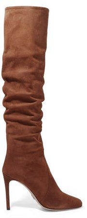 Suede Knee Boots - Brown