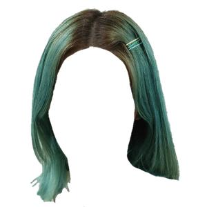 Short Blue/Green Hair PNG Clips/Pins