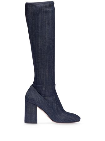 Miu Miu knee-length Denim Boots - Farfetch