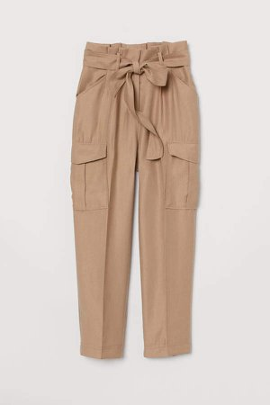 Paper-bag Pants - Beige