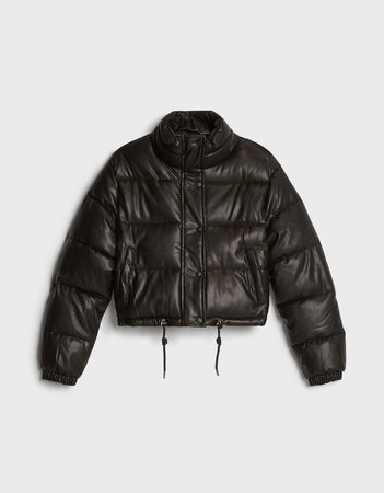Faux leather puffer jacket - Outerwear - Woman | Bershka black