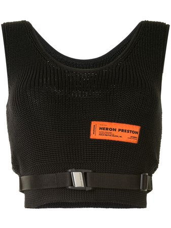 Shop black Heron Preston knitted crop top with Express Delivery - Farfetch