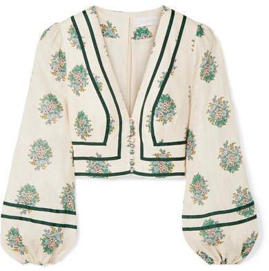Verity Cropped Grosgrain-trimmed Floral-print Linen Top - Cream