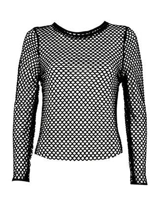 attitudeclothing Long Sleeve Fishnet Top: Amazon.co.uk: Clothing