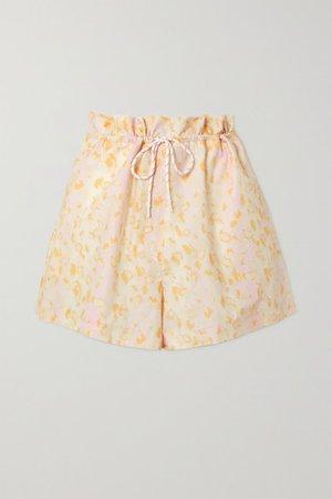 Camille Leopard-print Cotton-jersey Shorts - Pastel pink