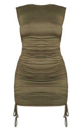 Khaki Sleeveless Shoulder Pad Ruched Bodycon Dress | PrettyLittleThing USA