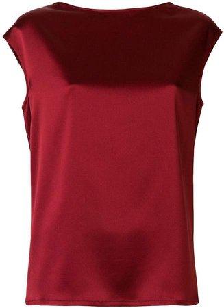 glossy sleeveless blouse