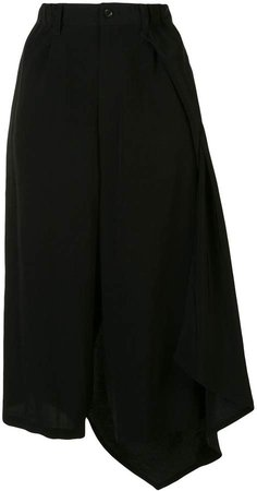High-Rise Draped Midi Skirt