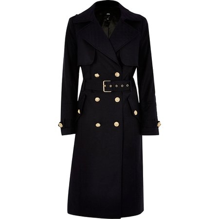 Navy quilted trench coat | River Island