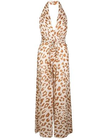 Shop brown Nanushka Alana animal print jumpsuit with Afterpay - Farfetch Australia