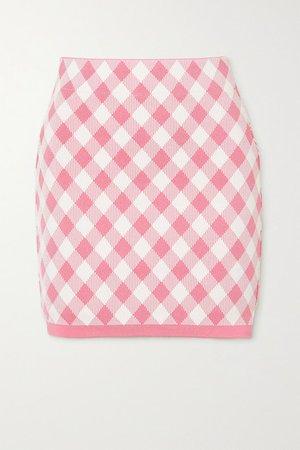 Gingham Jacquard-knit Mini Skirt - Pink