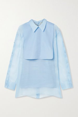 Light blue Silk-organza and cotton-poplin blouse   Fendi   NET-A-PORTER