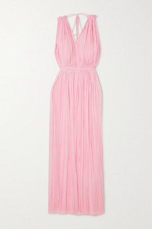 Nemea Open-back Draped Silk-tulle Maxi Dress - Pink