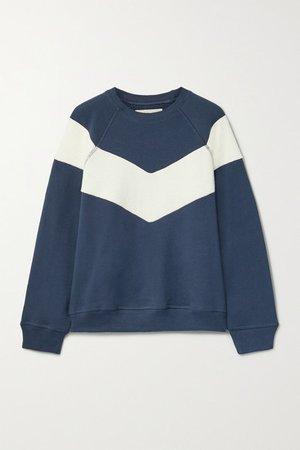The Sherpa Fleece-trimmed Cotton-jersey Sweatshirt - Navy