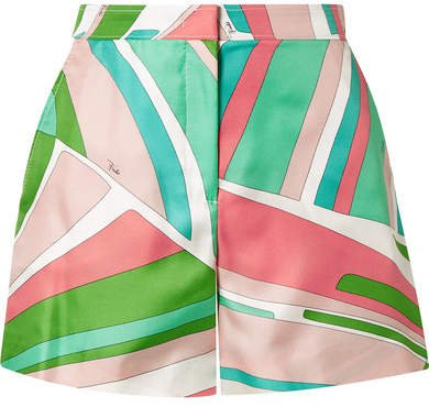 Printed Duchesse Silk-satin Shorts - Green