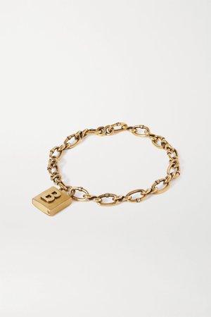 Gold Lock embossed gold-tone necklace | Balenciaga | NET-A-PORTER