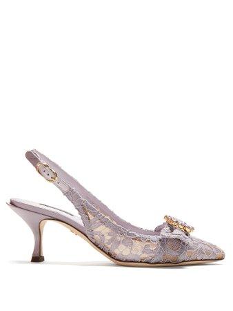 Lori crystal-embellished lace kitten-heel pumps   Dolce & Gabbana   MATCHESFASHION.COM US