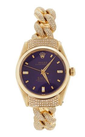 18K Yellow Gold Violet Custom Shay Vintage Rolex by Shay | Moda Operandi