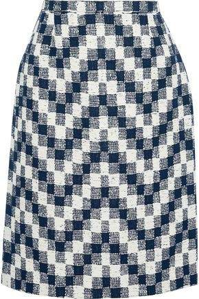 Checked Cotton-blend Tweed Skirt