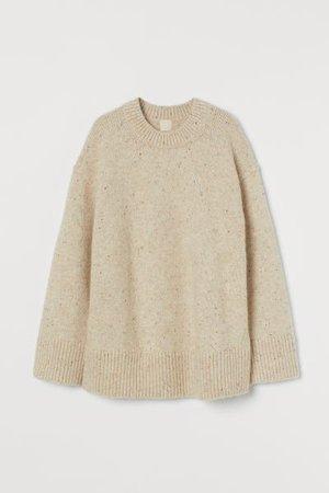Wool-blend jumper - Light beige/Nepped - Ladies | H&M GB