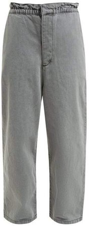 Paperbag Waist Wide Leg Jeans - Womens - Grey