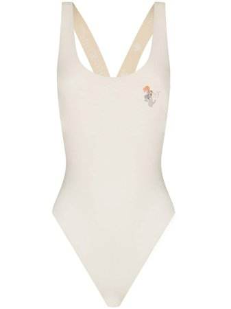 Shop Off-White x Browns 50 scoop neck logo swimsuit with Express Delivery - Farfetch