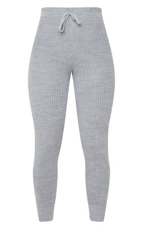 Grey Waffle Knit Jogger | Knitwear | PrettyLittleThing