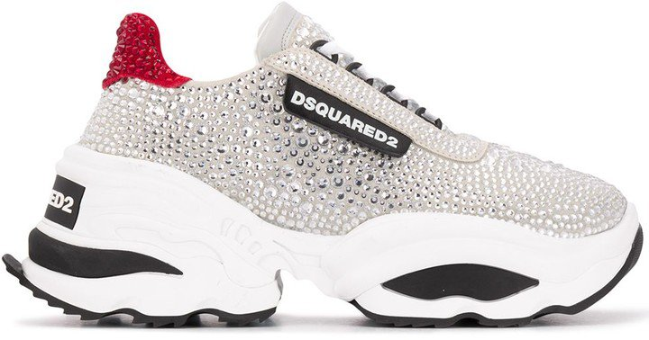 Crystal-Embellished Low-Top Sneakers