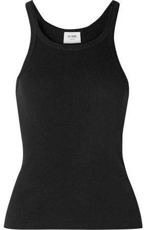 Ribbed Cotton-jersey Tank - Black