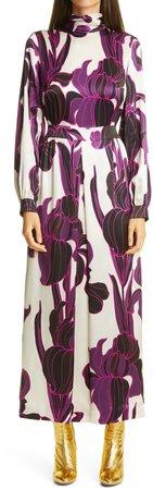 Floral Long Sleeve Silk Dress