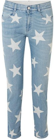 Printed Boyfriend Jeans - Light denim