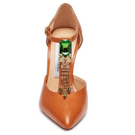 Bejeweled Baby Toffee Leather T-Strap Pumps | Alexis Isabel | Wolf & Badger