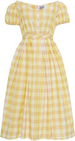 Thierry Colson Veronika Checked Cotton-Silk Midi Dress Size: S